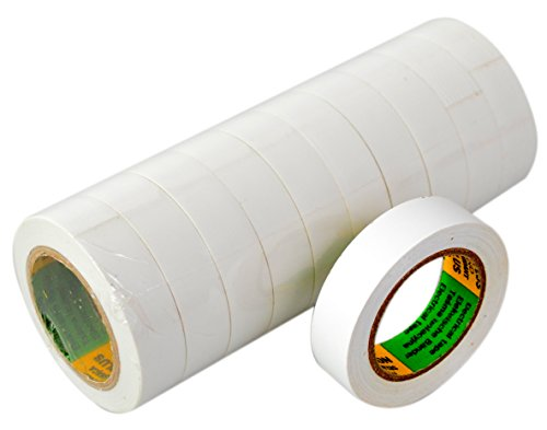 Isolierband Reparaturband in Weiß, Länge 10 m, Breite 15mm, 10 Rollen, universell für den Elektrobereich, erfüllt VDE, ÖVE & SEV