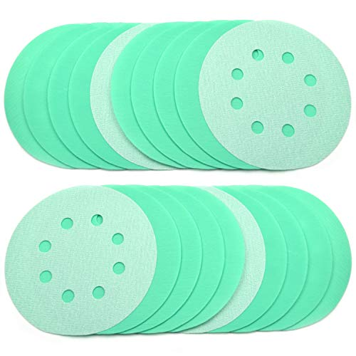 POLIWELL 5 Inch Sanding Discs 8 Holes 2000 Grit Wet Dry Film-Backed Green Line Hook and Loop Dustless Power Random Orbital Sander Paper, for Car Paint Wood or Metal Grinding and Polishing, 20 Pack