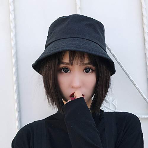 geiqianjiumai Student Sommer Sonnenschutz Sonnenhut Reisen Wilden Fischerhut koreanische Version des Sonnenhutes schwarz M (56-58cm)