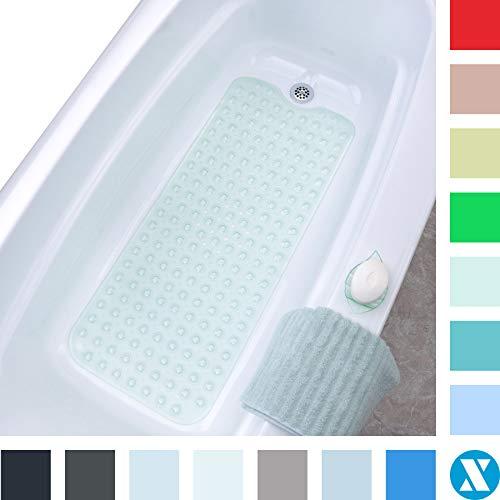El tapete de baño extralargo SlipX Solutions agrega una tracción Antideslizante a Las tinas y duchas: ¡30% más Que Las esteras estándar! (200 Ventosas, 99 cm de Largo - Lavable a máquina, Verde Claro)