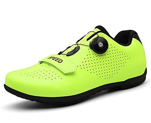 RHSML Zapatillas de Bicicleta de Carretera para Bicicleta de Montaña Zapatos de Ciclismo de los Hombres Ultraligeros Bicicleta Zapatillas de Deportes Sin Bloqueo Profesiona, negro, 39 EU