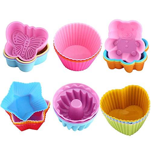 WOMGF Stampo per Muffin in Silicone Pirottini da Forno Riutilizzabili Cupcake Confezione da 26