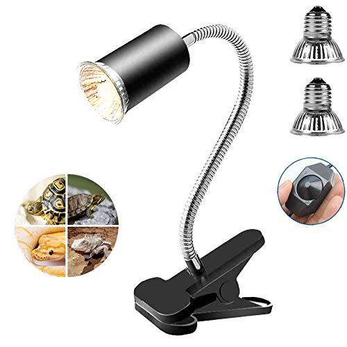 ONEKU Illuminazione Tartaruga Kit Include 1 Portalampada E27 con Potenziometro e 2 Lampade per Tartarughe da 75W con Luce UVA UVB per Scaldare e Illuminare Aquario o Rettili