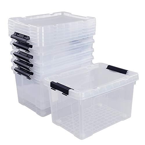 Ggbin 22 Quart Plastic Storage Box with Lid, Black Latching Bins, 6 Packs.