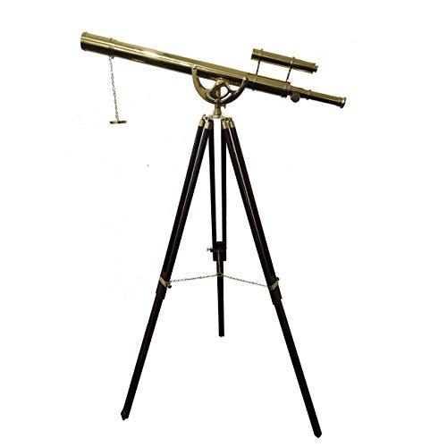 Vintage Floor Standing Brass Telescope Nautical Anchor Master Sky Watcher Adjustable Wooden Stand