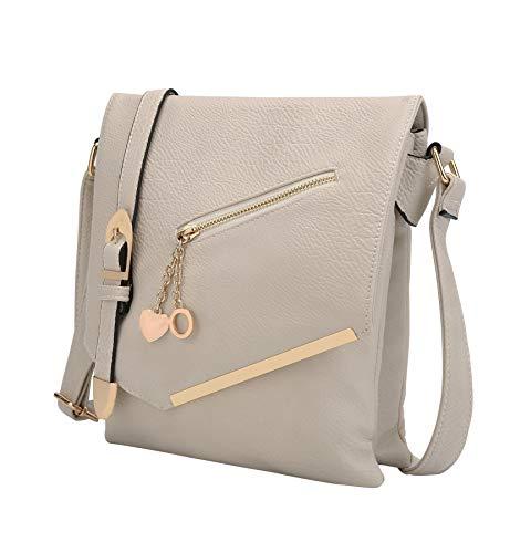 Mia K Collection Crossbody Bag for Women – Shoulder Strap – PU Leather Handbag Medium Ladies Messenger Side Purse Beige