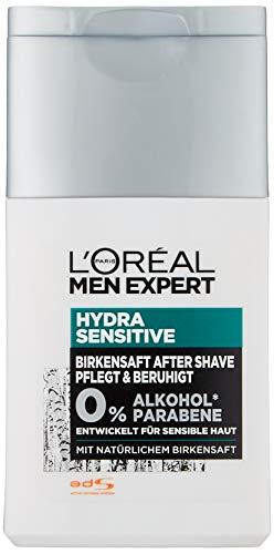 L'Oréal Men Expert Hydra Sensitive Aftershave, mit Birkensaft beruhigt sensible und empfindliche rasierte Haut kein Rasurbrand ohne Rückstände (2 x 125 ml)