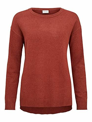 Vila Clothes Damen VIRIL HIGH Low L/S Knit TOP-NOOS Shirt, Burnt Henna, S