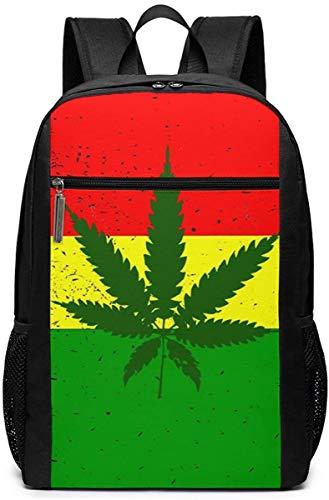 Pirate Skull Pattern Travel Laptop Bag Fashion Bookbag Computer Business Backpacks-Rasta Leaf Weed