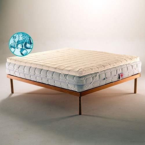 TOPPER In Fresco Polargel Termo Regolatore Correttore per Materasso o Sovramaterasso, ecologico e sfoderabile con Tessuto Bamboo matrimoniale 160x195