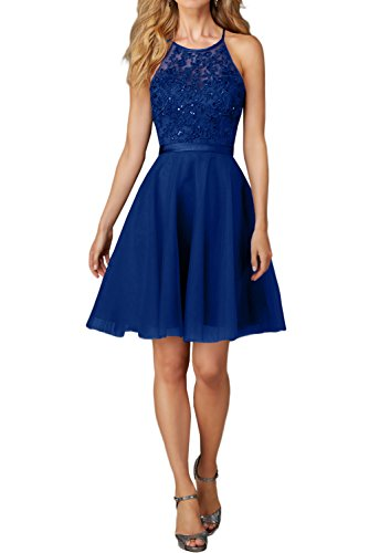 Charmant Damen Damen Kurz Abendkleider Ballkleider mit Spitze Festlich Kleider Mini Promkleider Jugendweihe kleid-36 Dunkel Royal Blau