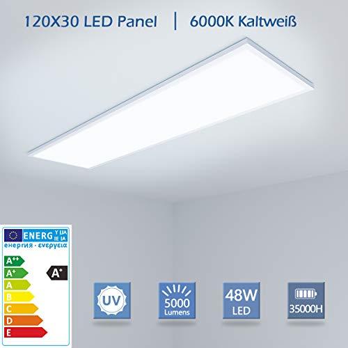 [PRO High Lumen]OUBO LED Panel 120x30cm Kaltweiß / 48W / 5000lm / 6000K / Weißrahmen Lampe dünn Ultraslim Deckenleuchte Wandleuchte Einbauleuchten, inkl. Netzteil