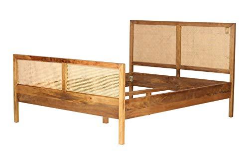 Rattan Bett Wiener Geflecht Vienna Webbing Massivholz Delmare in 160 oder 180 cm