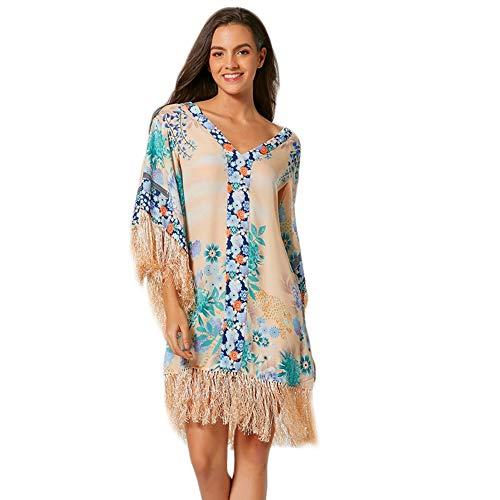 Timagebreze Frauen B?Hmisches Kleid Quasten Fledermaus ?Rmel Kleid Blumendruck Kleid Lose Holiday Beach Sommerkleid M.