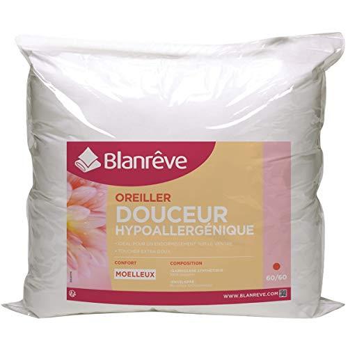 Blanreve Oreiller Moelleux Douceur hypoallergénique en Microfibre 60x60cm (Lot de 2)