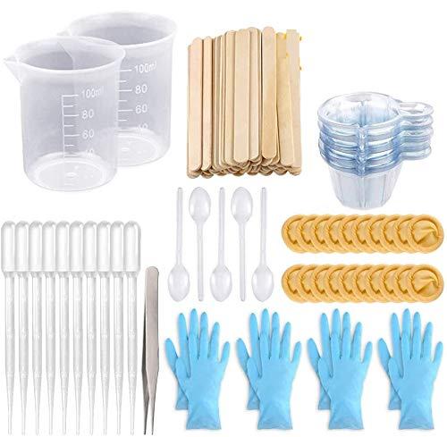 sopplea Mischbecher Epoxidharzbecher mit Sticks Kit-2Stk 100ml Messbecher, 70Stk wiederverwendbar und Mischstäbchen, Pipette, Pinzette und Handschuhe für Epoxidharz
