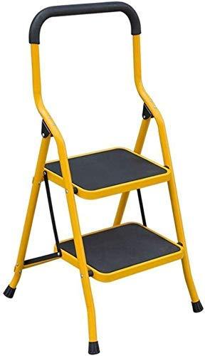 GUOXY Multifunktions-Herringbone Leiter, Metallfalte-Stufenleiter, Hauptstufenleiter, Innentreppe, Kleiner Schritt Hocker,Gelb,2 Step Ladder