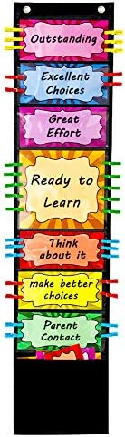 VNOM Student Behavior Clip Chart for Classroom Management Kids Reward Pocket Chart Behavior product image