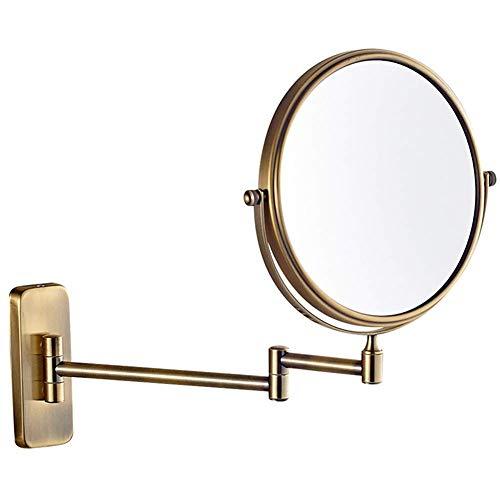 HGXC Espejo de Maquillaje Extensible Giratorio de Doble Cara Espejo de Aumento Normal + 10X Espejo de Belleza de Forma Redonda Plegable