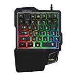 One Handed Gaming Keyboard, 35 Keys RGB Backlit Mini Gaming Keypad with Wrist Rest, Portable Wired Keyboard Ergonomic Game Controller for PC Gamer