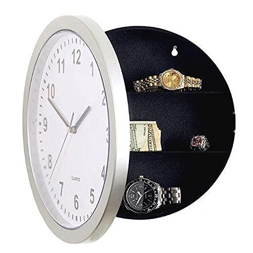 Caja Con Ilave Reloj de pared Caja segura Caja de almacenamiento secreto oculto para efectivo Money Security Clock Style Safe Anti Robo Stash Box Caja Fuerte Pequeña (Color : Silver)