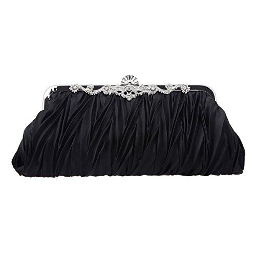 Fawziya Satin Pleated Clutch Purses For Women Evening Clutches For Wedding And Party-Black
