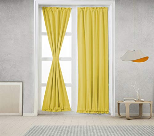 Icegrey 1 Panel French Door Curtains Thermal Insulated Rod Pocket Blackout Privacy Window Curtain Panel for Patio Yellow, 25x72 inch