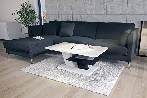Design Couchtisch Tisch Cliff Weiß Hochglanz/Schwarz matt Wohnzimmertisch 110x60x45cm mit Ablagefläche