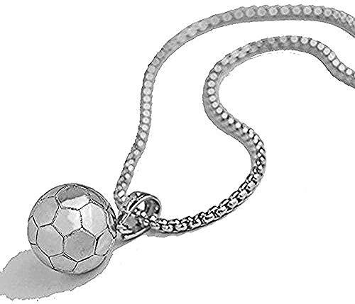 ZJJLWL Co.,ltd Collar Collar 3D Fútbol Fútbol Collar Bola Deporte Colgante Oro Acero Inoxidable Cadena de Serpiente Collar Hombres Deportes Deportes Joyería 23 Pulgadas para Mujeres Hombres
