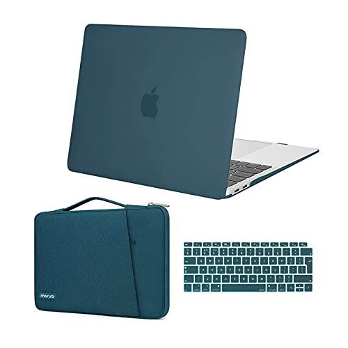 MOSISO Hülle Kompatibel mit MacBook Air 13 Zoll Retina 2020 2019 2018 Freisetzung A2337 M1 A2179 A1932,Plastik Hartschale Kofferund360 Schutz Sleeve TascheundTastaturschutz, Deep Teal