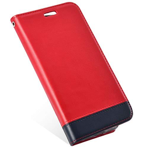 MoreChioce Compatible avec Coque Samsung Galaxy S6 Edge Housse à Rabat, Couture Rouge Etui en Cuir Portefeuille Clapet Case Bookstyle Protectrice Shell Magnétique avec Support