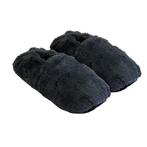 Thermo Sox aufheizbare Hausschuhe für Mikrowelle und Ofen - Mikrowellenhausschuhe Wärmepantoffeln Wärmehausschuhe Wärmeschuhe Fußwärmer Supersoft, Grau, 36/40 EU