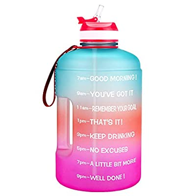 BuildLife 73OZ Motivational Water Bottle with Time Marked to Drink More Daily and Nozzle,BPA Free Reusable Gym Sports Outdoor Large Capacity (Green/Pink Gradient,73OZ)