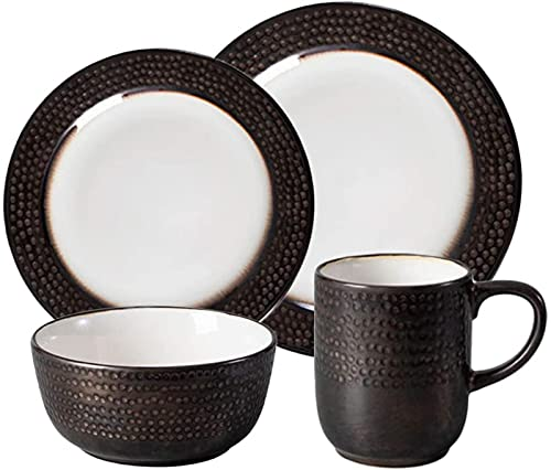 Juego de vajilla de cerámica, juego de vajilla de porcelana de 4 piezas, 2 platos de postre redondos, 1 cuenco de cereal, 1 taza, vajilla esmaltada, para sopa, arroz, ensalada, café, lavavajillas, mic