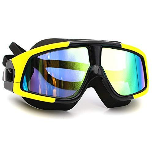 LIANHUI - Gafas de natación para adultos antivaho impermeable y antiultravioleta con tapones para los oídos integrados antideslizantes, fácil de ajustar espejo plano, negro y amarillo