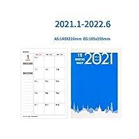 カワイイアジェンダ20212022A5ノートブックマンスリープランスケジュールオーガナイザージャーナルプランナーノートブックオフィススクールステーショナリーサプライ-Dark Blue-A5