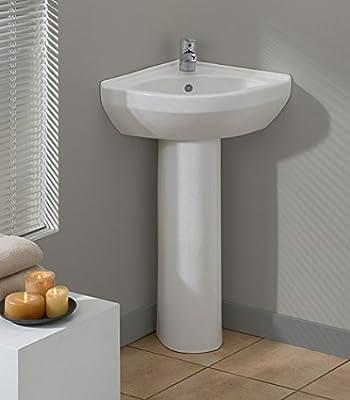 Cheviot Products Inc. 944-WH-1 Petite Corner Pedestal Sink, White