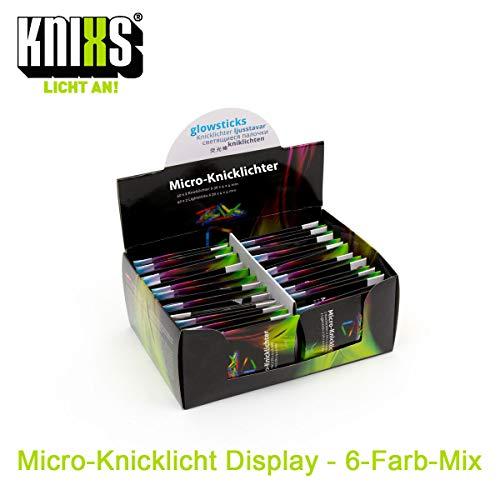 KNIXS 40er Display Mirco-/ Mini-Knicklichter inkl. Verbinder (80 Stück) - im 6-Farb-Mix leuchtend, ideal für Party / Angelsport (Bissanzeiger) / Luftballons / als Dekoration für Ketten, Ohrringe oder Haarschmuck