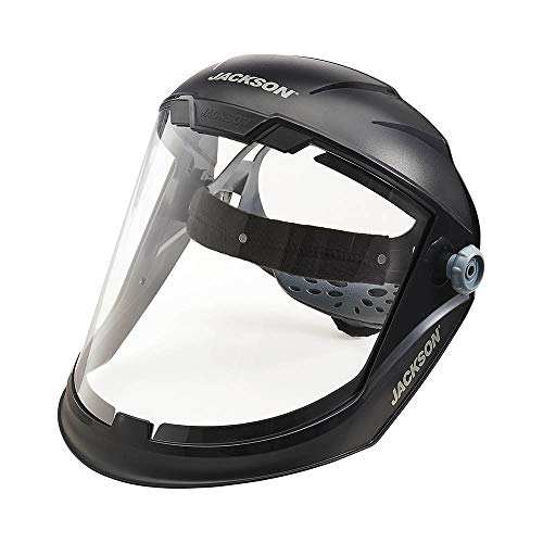 Jackson Safety Lightweight MAXVIEW Premium Face Shield with Ratcheting Headgear, Clear Tint, Uncoated, Black, 14200 (Remove Protective Film Before Use)