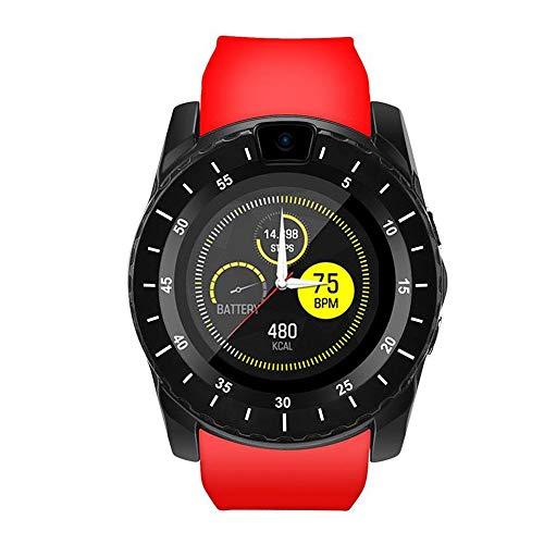 Bluetooth Smartwatch Android Smart Watch Telefono Touch con SIM Slot Notifiche per Samsung Xiaomi HUAWEI Orologio Braccialetto Fitness Activity Tracker Donna Uomo Bambini Contapassi Calorie(Rosso)