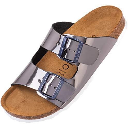 Palado® Damen Sandale Korfu | Made in EU | Pantoletten in modischen Farben | 2-Riemen Sandaletten mit Natur Kork-Fussbett | Herren Hausschuhe mit Leder-Laufsohle Lack Glatt Anthrazit 39 EU