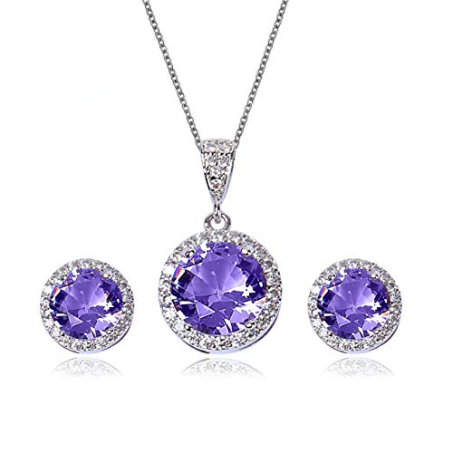 AMYJANE Amethyst Jewelry Set for Bridesmaids - Sterling Silver Round Purple Cubic Zirconia Crystal Bridal Pendant Necklace Earrings Set for Wedding Bride Bridesmaids