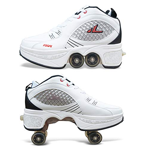 Herren Damen Skateboard Schuhe Kinderschuhe Rad Turnschuhe Mit Rollen Einstellbare Four-Wheeled Deform Wheel Rollschuhe Laufschuhe Turnschuhe Sneakers Running Shoes,41