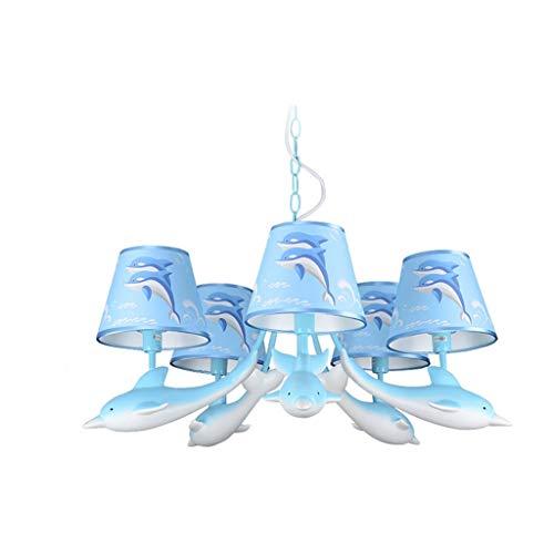 Delfin kandelaar voor slaapkamer, creatief, voor jongens en meisjes, comic-plafondlamp, dolfijnlampen en lantaarns klasse 5, E14, blauw, roze (groen): A)