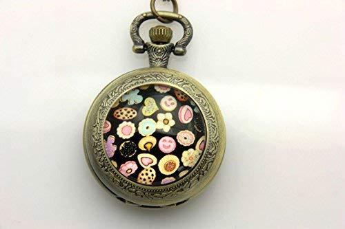 Taschenuhr mit Keks-Bild, Vintage-Bronze-Schmuck, Kunstbild, Modeschmuck