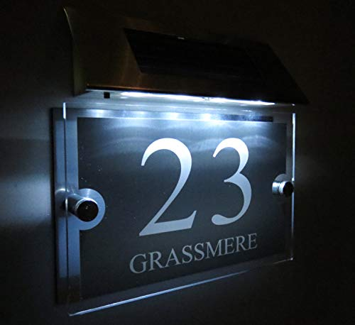 Personalised! Modern House Signs Plaques Door Numbers 1-9999 Street Name Solar Light LED