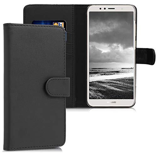 kwmobile Hülle kompatibel mit Huawei Y6 (2018) - Kunstleder Wallet Case mit Kartenfächern Stand in Schwarz