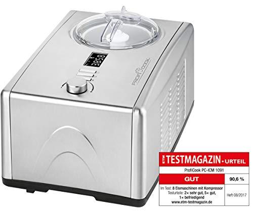 Profi Cook PC-ICM 1091 Eismaschine (3 in 1 für Speiseeis, Frozen Joghurt und Sorbet, Kompressor-Kühlung, LCD-Display, für bis zu 1,5 l Speiseeis) edelstahl
