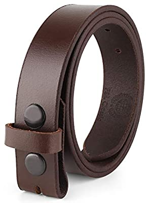 """Mens Leather belt Full Grain One Piece Vintage Distressed Style Snap on Strap for Interchangeable Buckles, 1 .25"""" Wide, Size 48,brown,1043"""