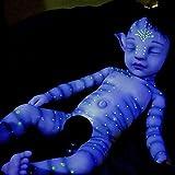 YXX 20 Pulgadas Realista Renacer Muñecos Bebé De Niño Orejas Puntiagudas Pequeño Nacido Hecho A Mano Dormido Regalo De Cumpleaños Juguetes para Mayores De 3 Años,Azul,55cm
